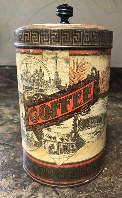 Antique WOOD'S CANADIAN COFFEE Can Landmarks Thos. Wood & Co. Wooden Knob