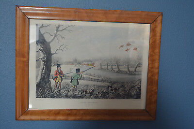 Rare 1810 Birdseye Maple Oee Picture Frame With Hunting Sports Print R. Havell