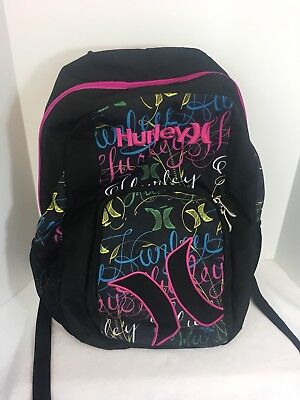 bfdce5824e HURLEY BACKPACK BLACK Multi-Color Hurley Print Pink Zipper Great Condition