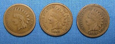 *nice Lot Of (3) Early Indian Head Pennies 1860 & 1863 - Estate Fresh*