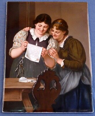 "19th Century German ""The Love Letter"" KPM Hand Painted Porcelain Tile, Signed"