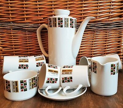 Retro Alfred Meakin Glo-White Ironstone Coffee Set 1960's Vintage