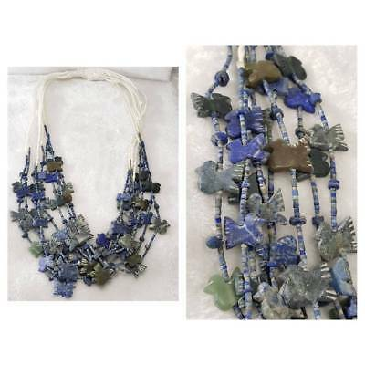 Very Old Rare Unique Lapis & Jade Birds Carved Stone Beads Strand Necklaces