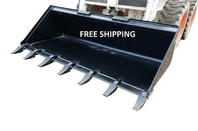 "New 66"" Tooth Bucket, Powder Coated For Skid Steer Loader - Free Shipping"