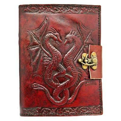 Double Dragon Leather Embossed Journal and Lock Notebook Diary Mystic Magic
