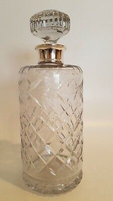 Beautiful Crystal Decanter With Birks Sterling Collar