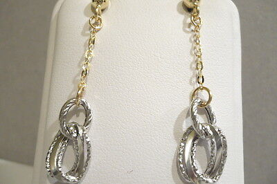 Gold Earrings 18Kt 750 Bicolor Hanging To Key Ring