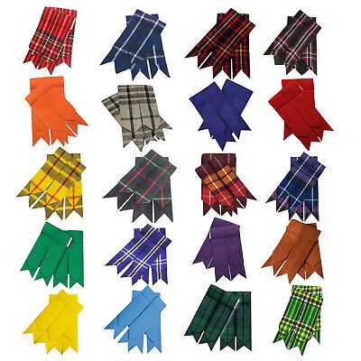 Scottish Kilt Hose Sock Flashes Garter Pointed Various Tartans Highland Wear