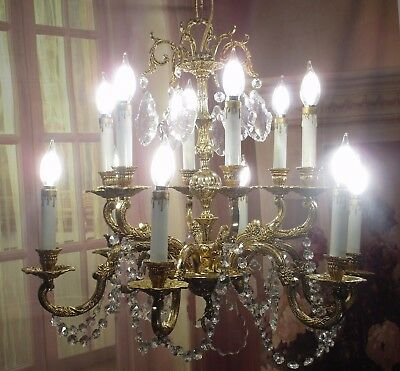 Antique Vintage Chandelier Bronze Gold  12 Light Crystals Elegant Restored