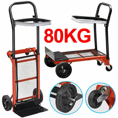 Industrial Hand Sack Truck Trolley Heavy Duty Pneumatic Tyres Folding 80kg Red
