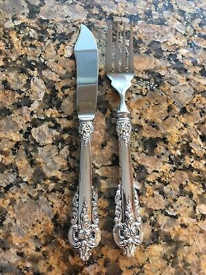 Rare Clean Big Wallace Grande Baroque Fish Knife Fork Pair Grand Sterling Silver