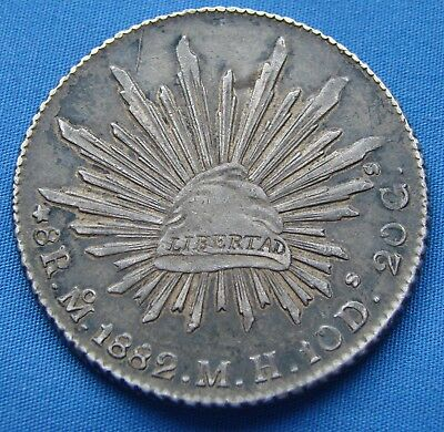 *very Nice 1882 Mexico 8 Reals Silver Coin M.h.10D. 20 G - Estate Fresh*
