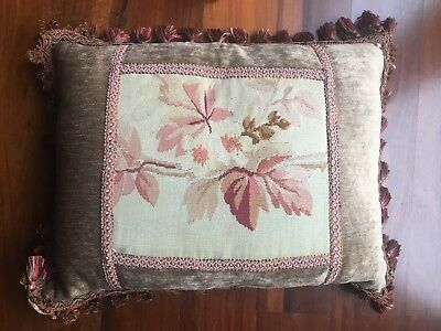 Antique French Aubusson Tapestry Down Filled Decorative Pillow