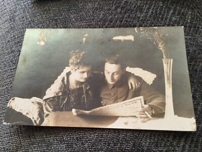 Vintage Postcard Soldier With Wife Reading Paper
