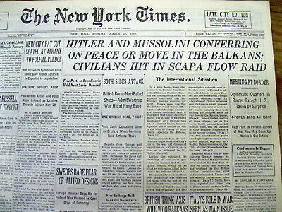 1940 NY Times WW II newspaper HITLER & MUSSOLINI meet at BRENNER PASS CONFERENCE