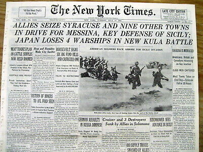 1943 NY Times WW II headline newspaper ALLIES INVADE SICILY begin ITALY CAMPAIGN