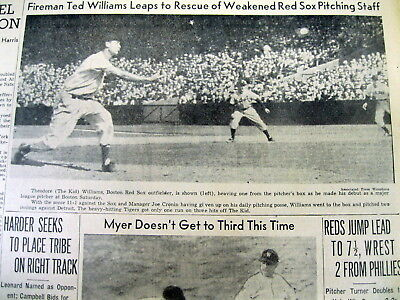 1940 newspaper TED WILLIAMS PITCHES for BOSTON RED SOX + WW II BATTLE OF BRITAIN