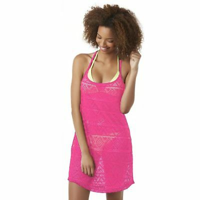 08887ccc04787 Joe Boxer Junior's Crochet Swim Cover-Up Hot Pink Size Small New Free  Shipping