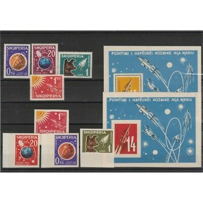 1962 Albania Space 8 Val + 2 Bf Dent And Not Dent Mnh Mf54473