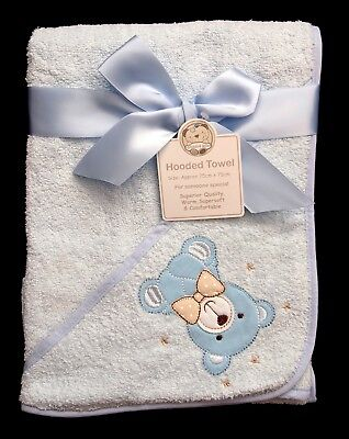 Soft Blue Teddy Baby Hooded Bath Time Towel 100% Cotton 75x75cm Baby Shower Gift