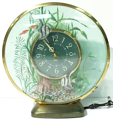 Sessions 1954 Lighted Aquarius Electric Rotating Fish Clock With Night Light