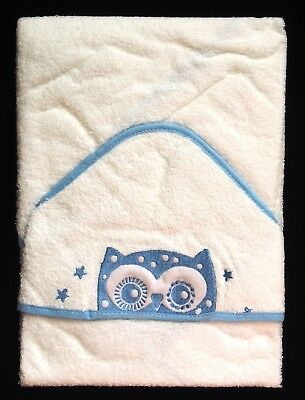 Soft Blue Owl Baby Hooded Bath Time Towel 100% Cotton 70x70cm Baby Shower Gift
