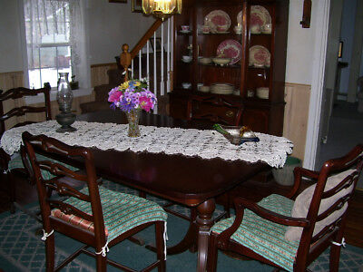 early 1900 cherry/mahogany 10 piece dinning room set, dishes, carpet, silverware