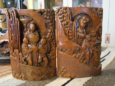 Antique Asian Carved Bookends Dark Wood Oriental Scene