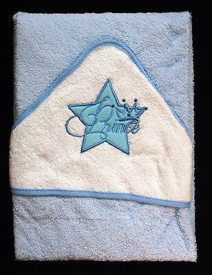 Soft Blue Prince & Crown (S1) Baby Hooded Bath Time Towel 100% Cotton 70x70cm