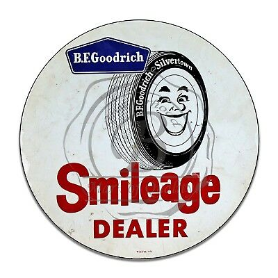 B.F. Goodrich Silvertown Smileage Dealer Reproduction Circle Aluminum Sign