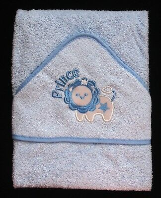 Soft Blue Lion Prince Baby Hooded Bath Time Towel 100% Cotton 70x70cm Baby Gift