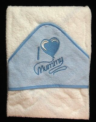 Soft Blue I Heart/Love Mummy Baby Hooded Bath Time Towel 100% Cotton 70x70cm