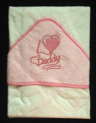 Soft Pink I Heart/Love Daddy Baby Hooded Bath Time Towel 100% Cotton 70x70cm