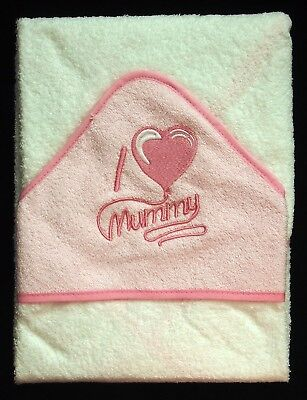 Soft Pink I Heart/Love Mummy Baby Hooded Bath Time Towel 100% Cotton 70x70cm
