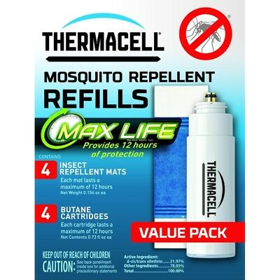 NEW! Thermacell L-4 Max Life Mosquito Repeller Refill, 48 Hour Pack (4 Max L L-4