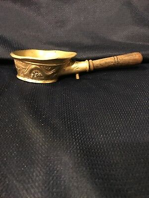 Estate  Antique Handsome Chinese Brass Carved  Dragon Coal Pan Wood handle