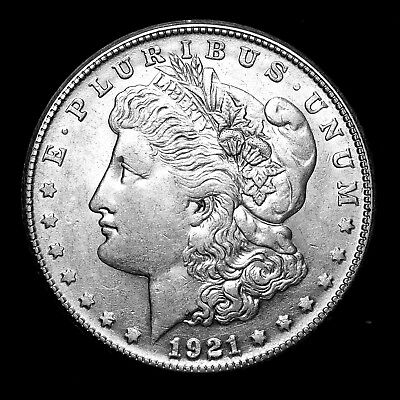 1921 S ~**ABOUT UNCIRCULATED AU**~ Silver Morgan Dollar Rare US Old Coin! #50