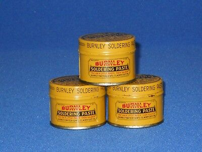 Vintage NOS Burnley Soldering Paste Tin, Bright Colors, FULL Tins, NEVER USED!