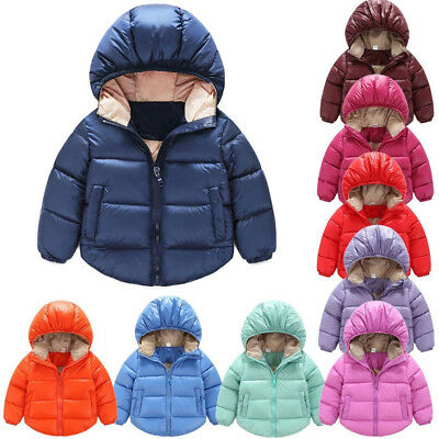 HK- Child Winter Kids Hooded Wadded Jacket Snowsuit Warm Padded Coat Outwear Wit