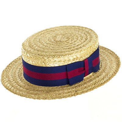Olney Headwear Classic Straw Boater with Guards Band