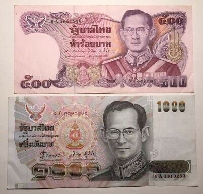 Set of 2 - Thailand 500 & 1000 Baht - LOW RESERVE!