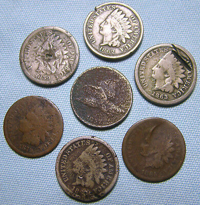 1857 Flying Eagle Cent, 1859 1860 1862 1863 1865 1879 Indian Head Cents, Lot