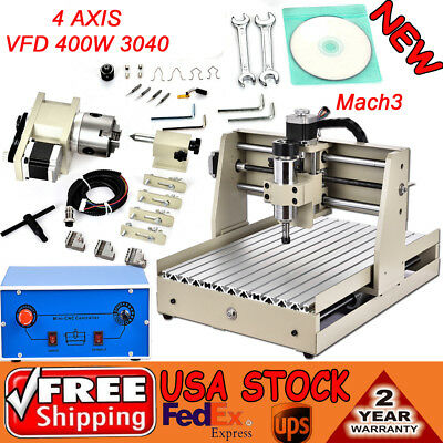 4 AXIS VFD 400W 3040 CNC ROUTER Engraver Engraving Drill Mill Machine 3D Cutter