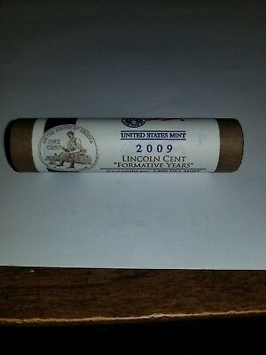 """2009  P  Lincoln  Cents  LP2  """"  Formative Years / Rail Splitter  """"   Mint Roll"""