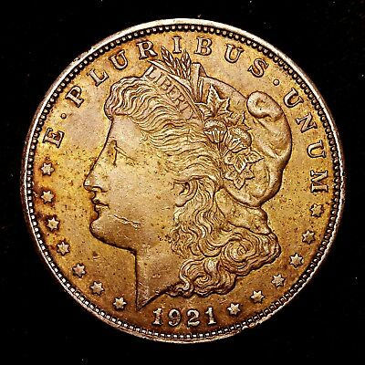 1921 D ~**ABOUT UNCIRCULATED AU**~ Silver Morgan Dollar Rare US Old Coin! #953