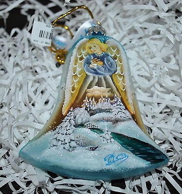 New DeBrekht WINTER  ANGEL w/RABBIT BELL Scenic Glass Ornament 4.25""