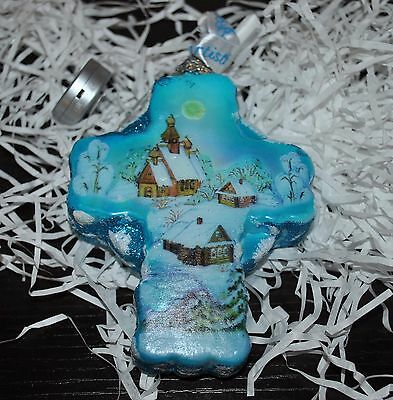 New DeBrekht WINTER VILLAGE CROSS LED  Church  Scenic Glass Ornament 5.25""