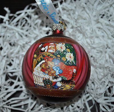 New DeBrekht NIGHT BEFORE Xmas  SCENIC GLASS  Ornament BALL Girl Santa Cat RUBY