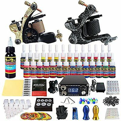 Complete Tattoo Kit 2 Pro Machine Guns 28 Inks Power Supply Foot Pedal Needles