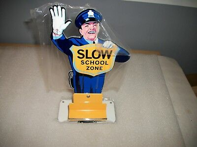 REPRODUCTION TIN POLICEMAN SCHOOL ZONE COCA COLA SIGN BUSINESS CARD HOLDER 50's